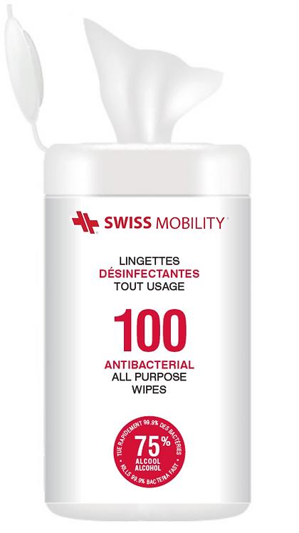Swiss Mobility. Lingettes désinfectantes 75% alcool. 100/Tube