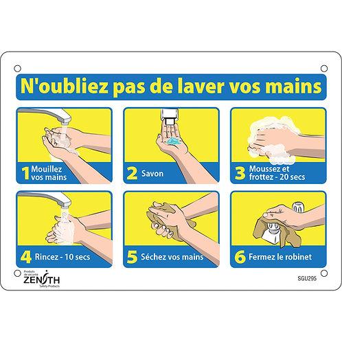 """Enseigne 10'' x 7'' avec pictogramme """"N'oubliez pas de lavez vos mains"""""""