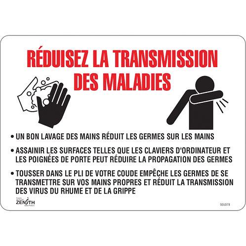 Enseigne 14'' x 10'' «Réduisez la transmission des maladies»