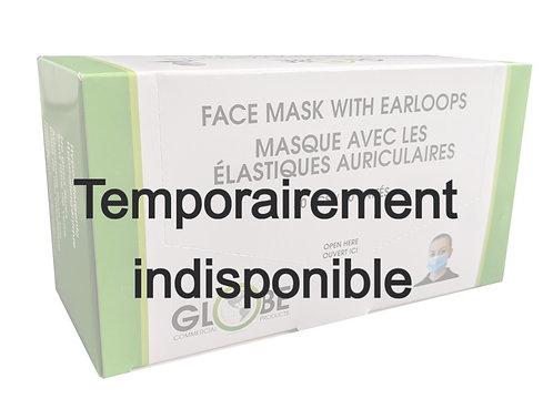 Masques MÉDICAUX ASTM NIVEAU-2 Globe. Boite de 50.