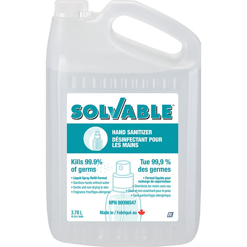 Désinfectant liquide pour les mains 70% Solvable 3.78L