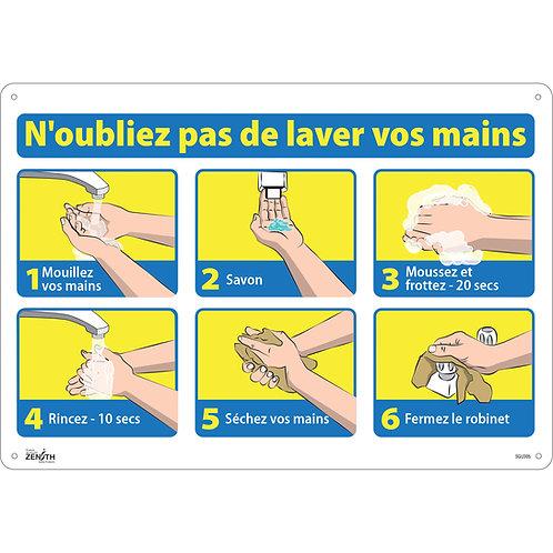 """Enseigne 20'' x  14'' avec pictogramme """"N'oubliez pas de lavez vos mains"""""""