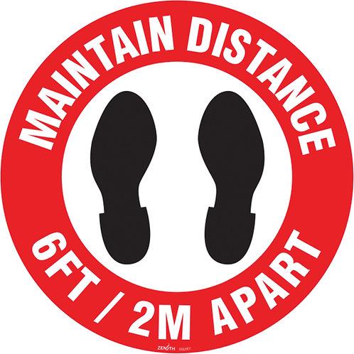 Enseigne de vinyle adhésif 17'' pour plancher «Maintain Distance»