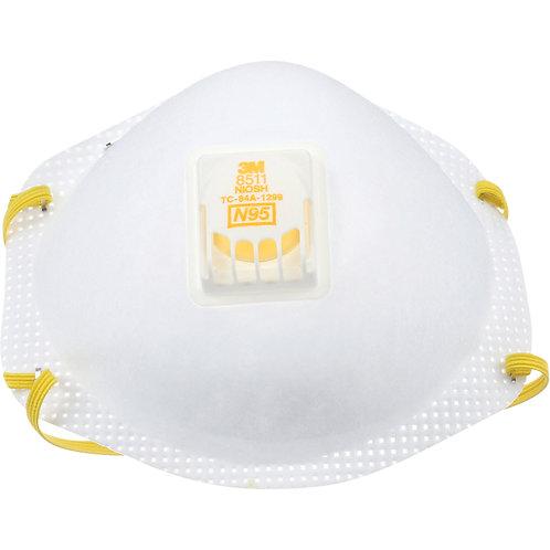 Masques respirateurs (10) 3M 8511 N95 avec soupape. Certifiés NIOSH