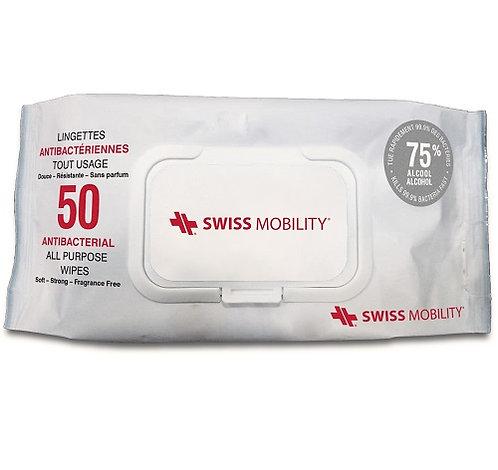 Swiss Mobility. Lingettes désinfectantes 75% alcool. 50/Paquet