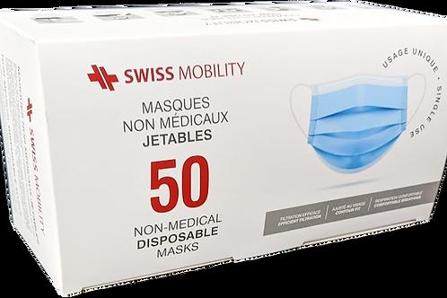 Masques jetables Swiss Mobility | Boite de 50 masques