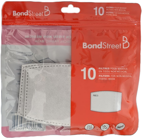 Bond Street. Filtres 5 couches pour masques en tissu. 10/paquet