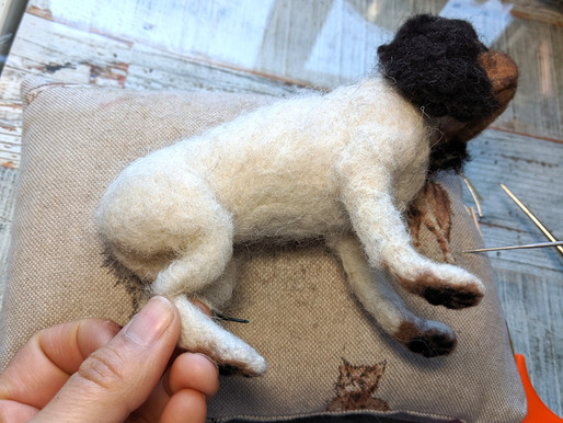 Making Of: Realistic Needle felted Dog -6. Not fur planting yet