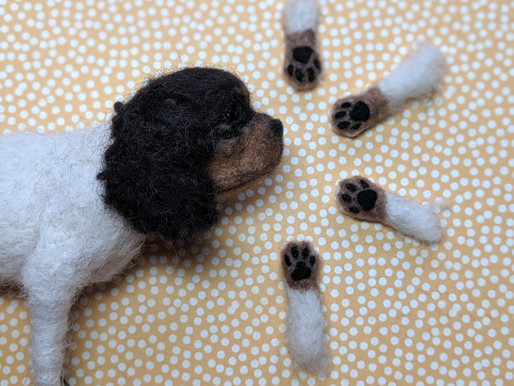 Making Of: Realistic Needle felted Dog -5. Feet and Paws at last!