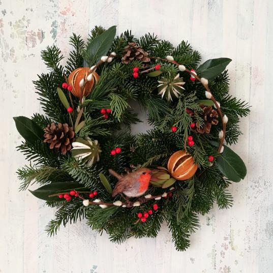 Christmas wreath and robin