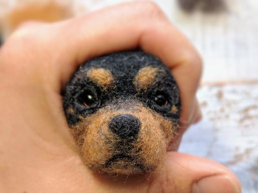 Making Of: Realistic Needle felted Dog -4. Face :)