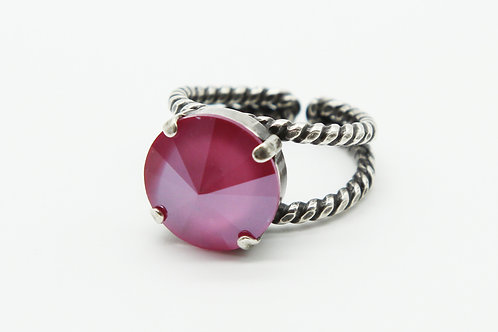 Pink Ring-Swarovski crystal solitaire-Cocktail ring-split shank ring-braided ring