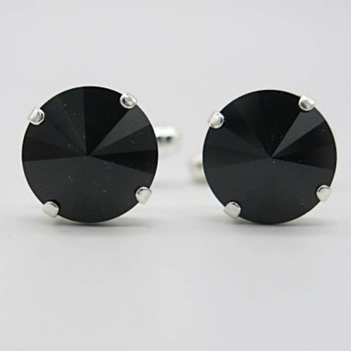JS Jewelry Jet 14mm Rivoli Swarovski crystal cufflinks