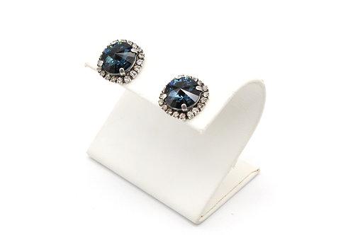 blue montana sapphire swarovski crystal halo of pave stud earring