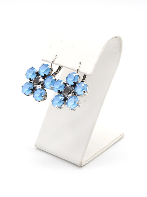 Summer Blue 39ss Swarovski crystal lever back antique silver earrings