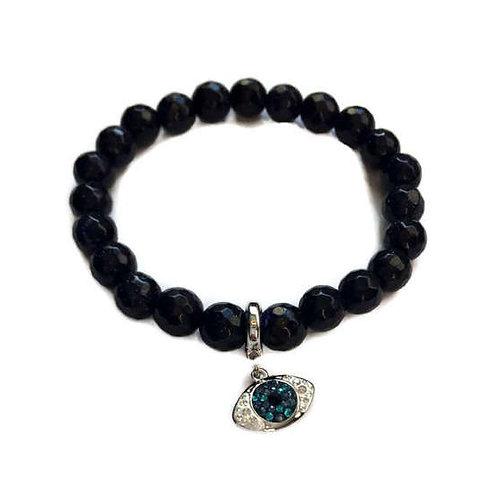 Fashion Jewelry Black Onyx Beaded Swarovski Evil Eye Charm Bracelet
