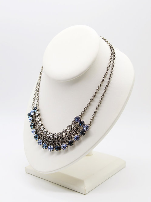 Light Sapphire and Montana Blue Bib collar necklace