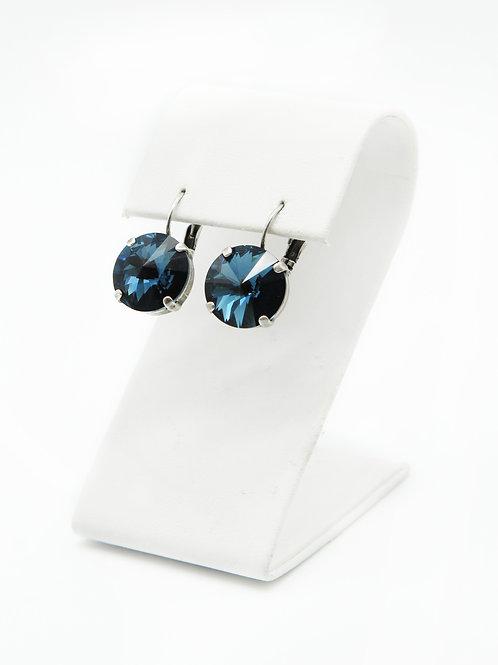 Sapphire Montana Blue Swarovski crystal 14mm rivoli crystal stud lever-back earrings