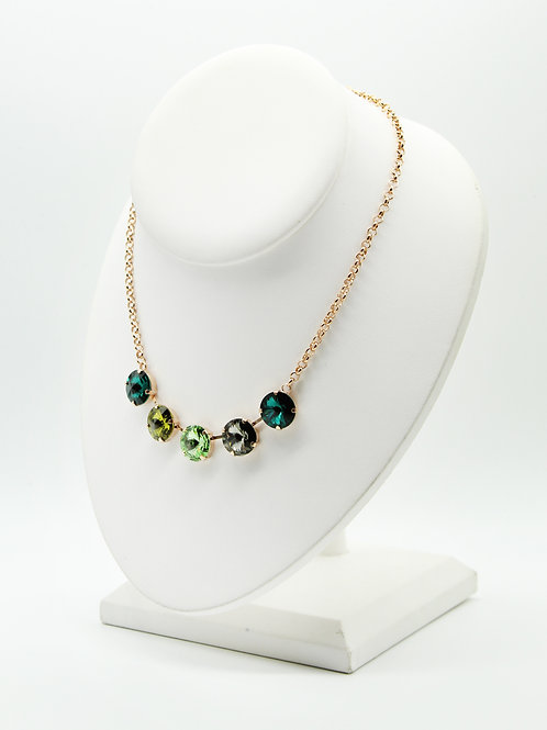 Glass Crystal Green Five Stone Necklace