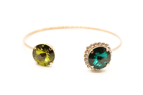 Rose gold cuff bracelet-green tone jewelry-Swarovski crystal