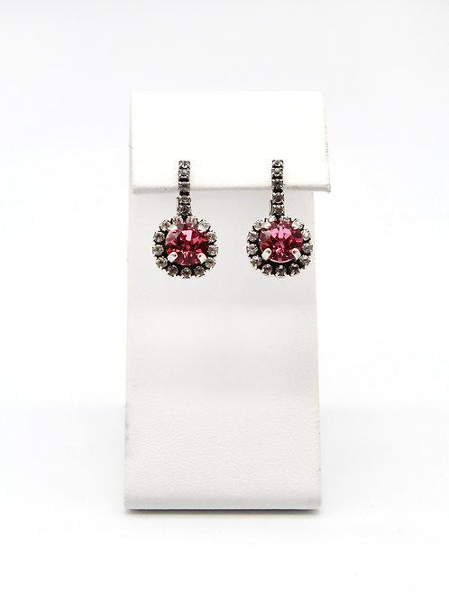 rose pink Swarovski 39ss dangle drop classic elegant earrings