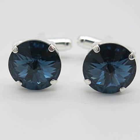 Montana blue Swarovski 14mm rivoli crystal cufflinks
