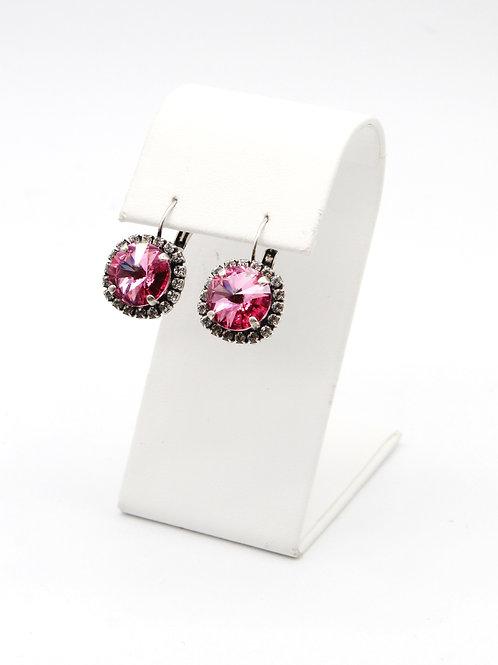 Rose pink Swarovski fashion lever-back antique silver earrings