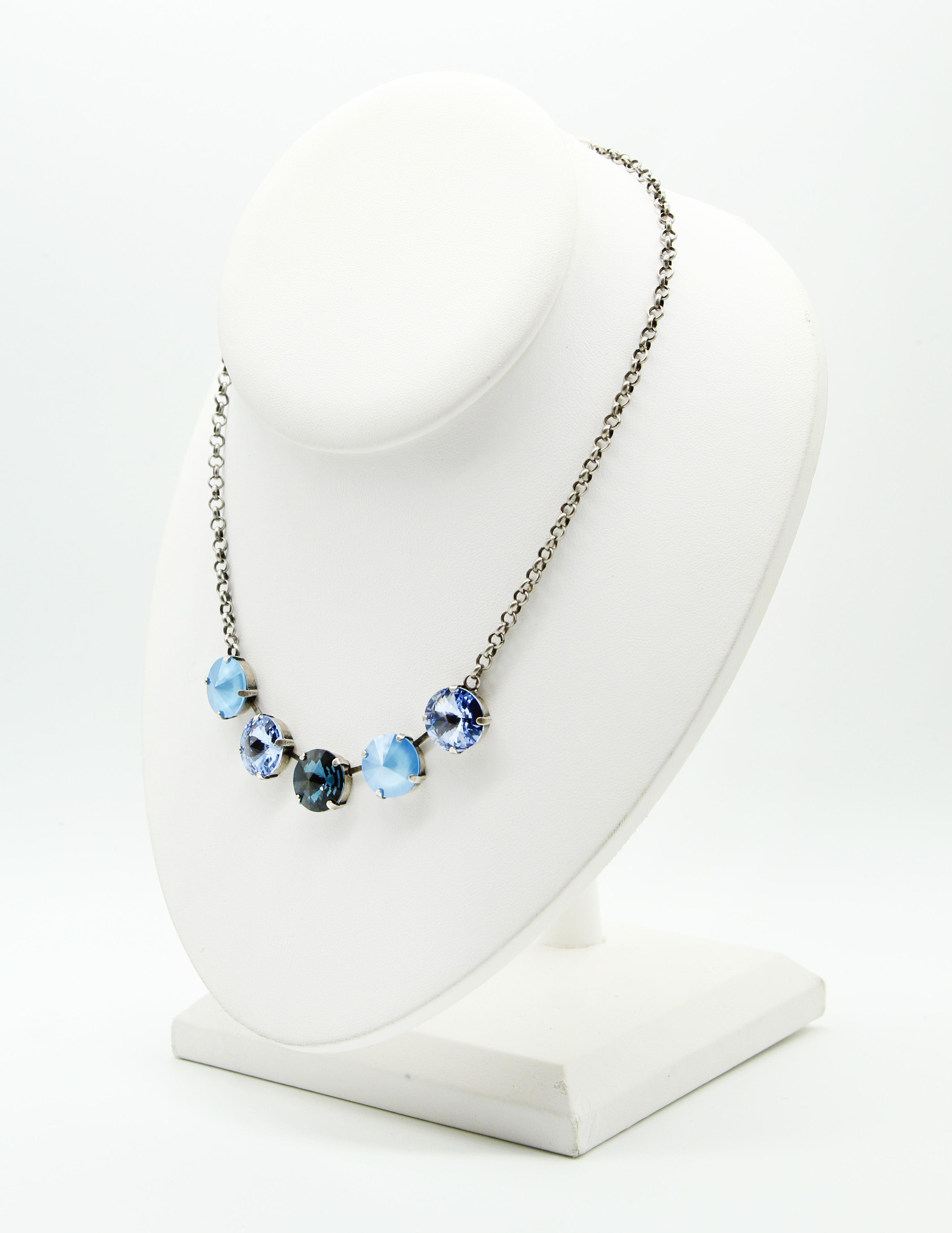 Denim Blues Ombre 5 Stone crystal necklace