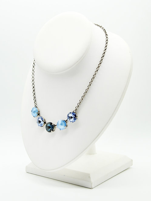 Denim Blues crystal five stone necklace on a rolo chain