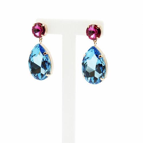 Fuchsia and Aquamarine Oversized Teardrop Earring