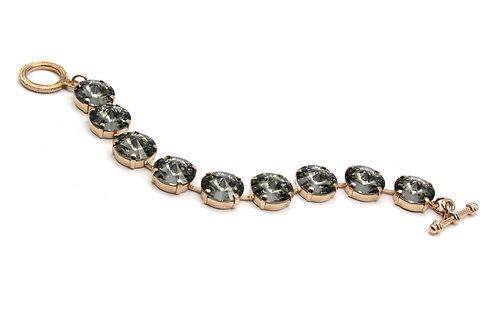 Green Black diamond Swarovski Crystal 14mm rivoli 9 stone bracelet in rose gold