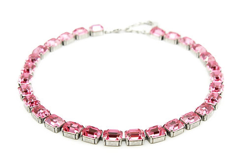 Pink Sapphire Necklace-Pink Emerald Cut Necklace