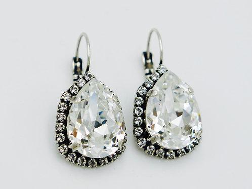 Classic Pear shape Swarovski Crystal Teardrop Dangly Lever-Back Earrings