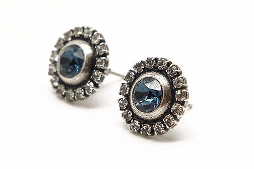 Small Sapphire Halo Stud Earrings