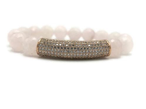 Fashion bracelet, natural healing rose quartz beaded micro pave tube bracelet