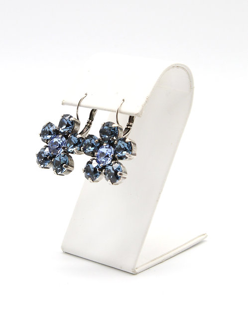 Sapphire blue 39ss Swarovski lever back flower dangly antique silver earrings