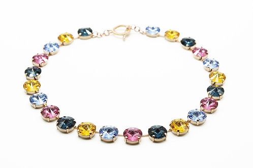 Anna Wintour Rose Gold Multi colored collar necklace