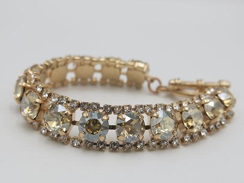 Rose Gold Victorian Vintage Glass Crystal Bracelet