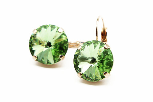 Rose Gold peridot earrings-everyday earrings-peridot jewelry-august birthstone