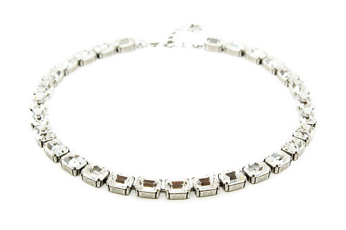 Emerald cut necklace-clear crystal collar necklace
