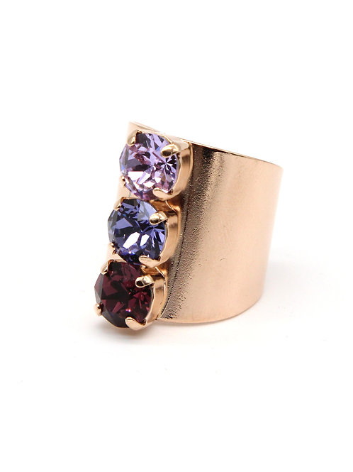 Amethyst purple three stone crystal ring in rose gold