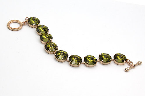 Olive Green Swarovski large stone crystal prong set toggle clasp bracelet