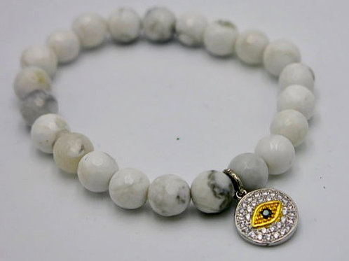 8mm beaded stretch bracelet with pave eye charm