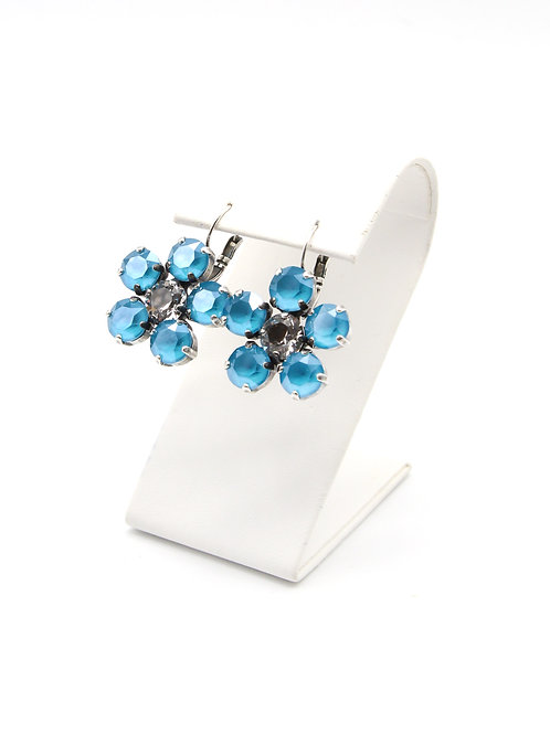 Crystal Azure Blue 39ss Swarovski lever back dangly earrings set in antique silver