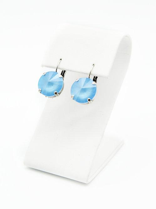 Blue Crystal Dangle Drop 14mm Rivoli Earrings