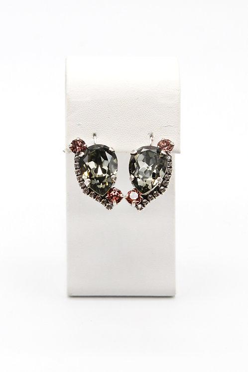 Handmade crystal black diamond pear shape Swarovski earrings in antique silver setting and lever-backs