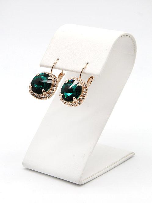 Emerald green Swarovski crystal 12mm rivoli lever back rose gold earrings