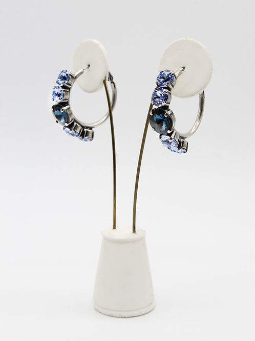 Chic, Large Sapphire Blue Crystal Hoop Earrings
