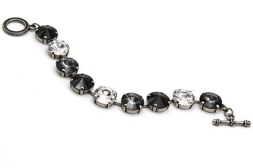 Large Stone Crystal Bracelet 14mm rivoli Jet black, crystal and Silver night