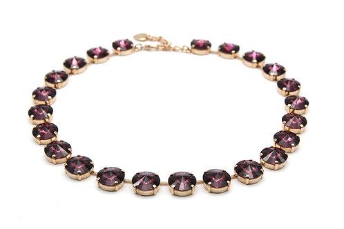 Round Purple Glass Crystal Rivière Necklace